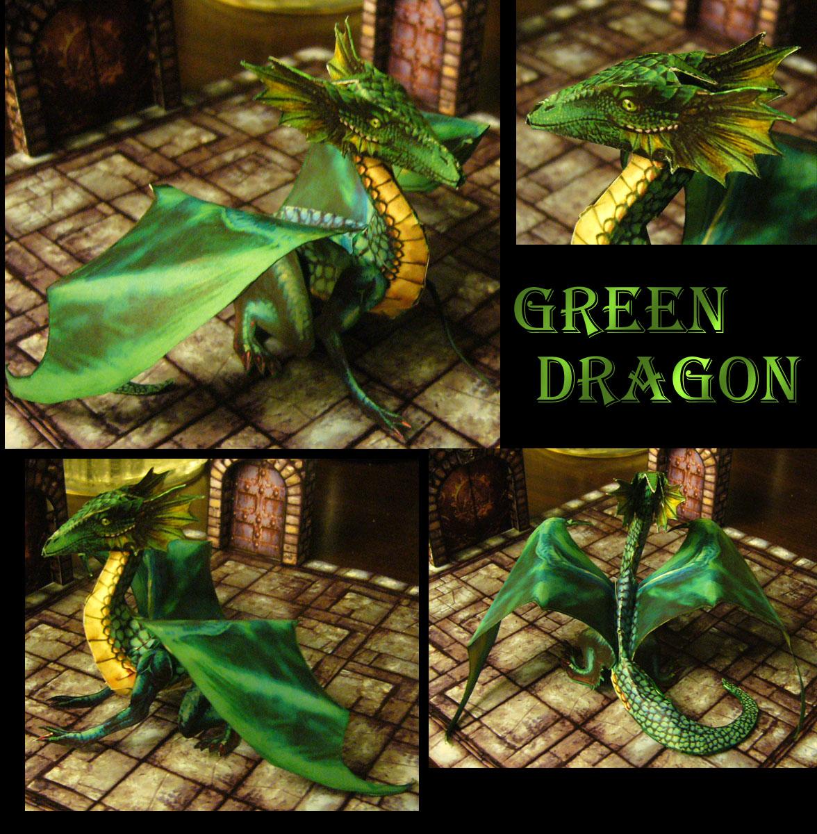 Fantasy RPG Green Dragon Papercraft