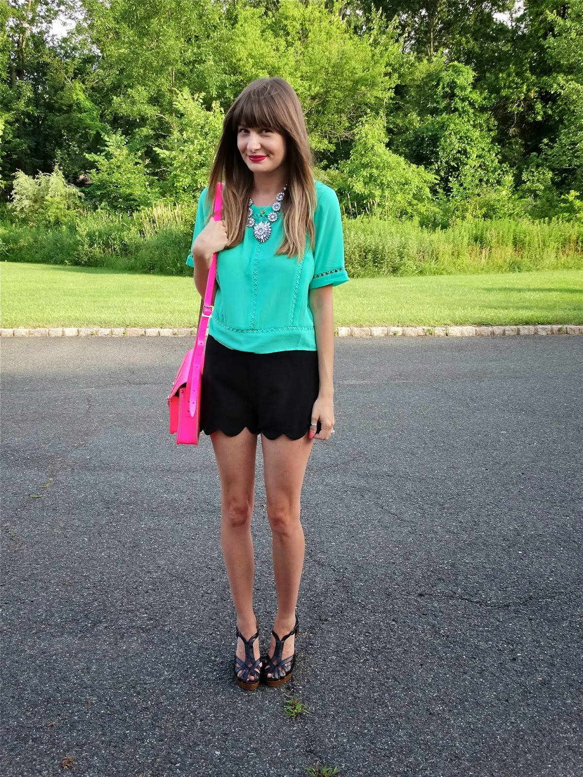 Jen of House Of Jeffers, wearing Scalloped Shorts from TJ Maxx, Crop Top from Francesca's, Cambridge Satchel and Nine West Wedges