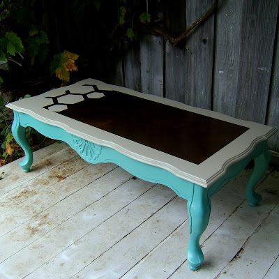 I believe i have showed the before of this table if not for Teal coffee table