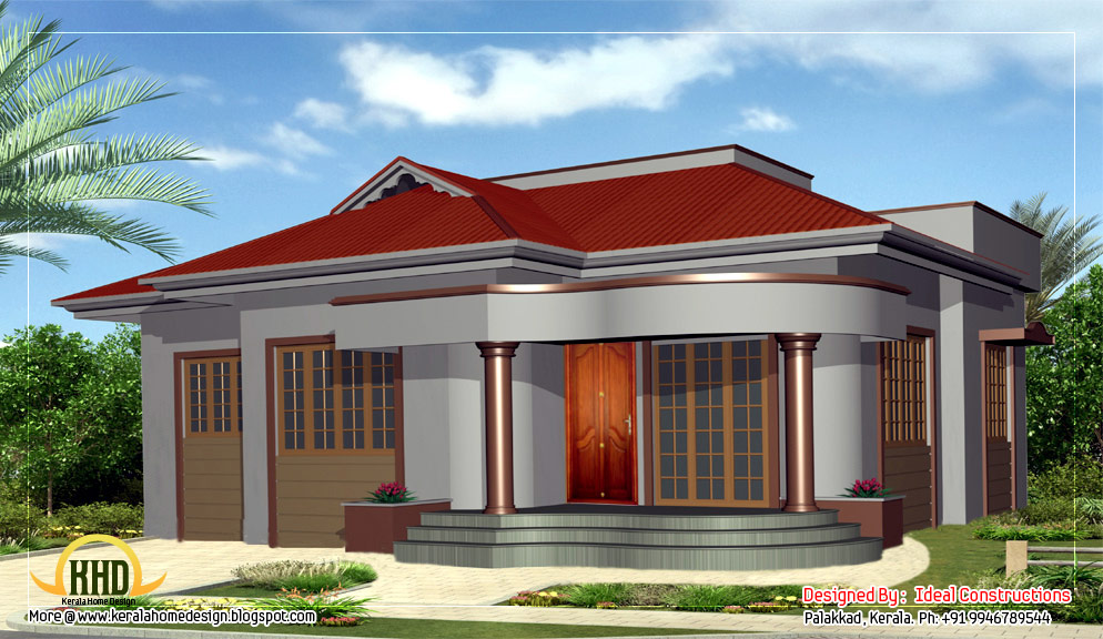 Beautiful single story home design - 1100 Sq. Ft. | Indian House Plans