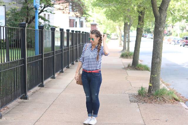 j crew factory gingham plaid shirt gap resolution destroyed skinny jeans high waisted converse white chuck taylor ray ban round mirrored sunglasses rebecca minkoff mac red patent leather skinny belt festival rockabilly style
