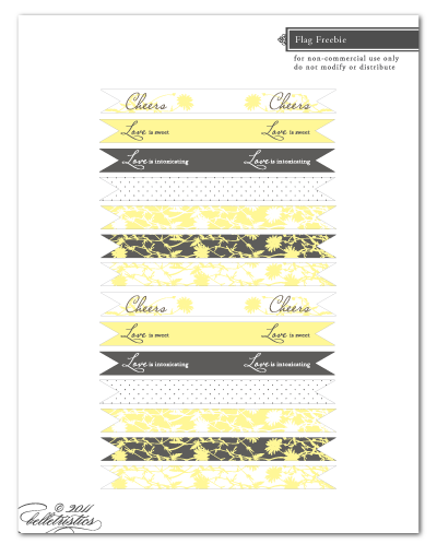free printable cupcake drink flag design wedding vintage floral