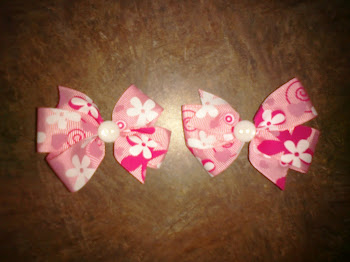 Pink flower bow set
