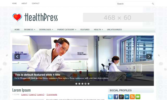 healthpress free Blogger Templates 2013 download 25+ Best Free Magazine Blogger Templates for 2013 Download