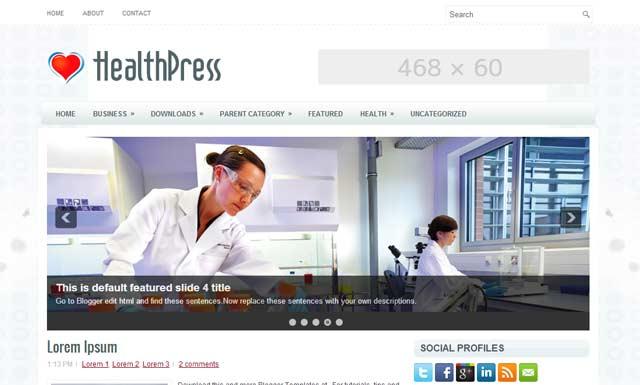 healthpress free Blogger Templates 2013 download 25+ Best Free Magazine Blogger Templates for 2013 Download