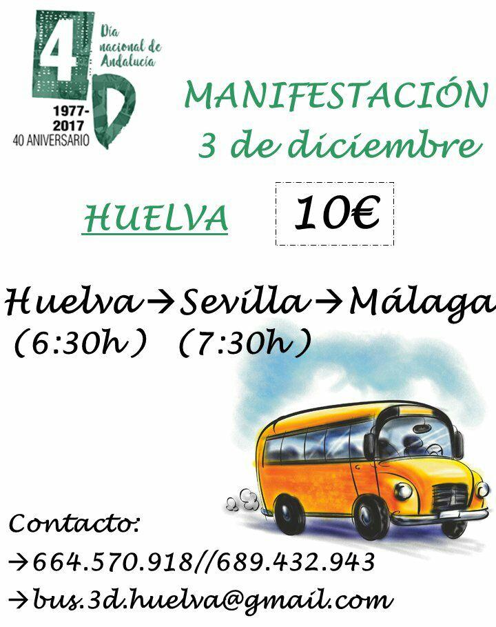 BUS de HUELVA a MÁLAGA para Manifestación del 3D