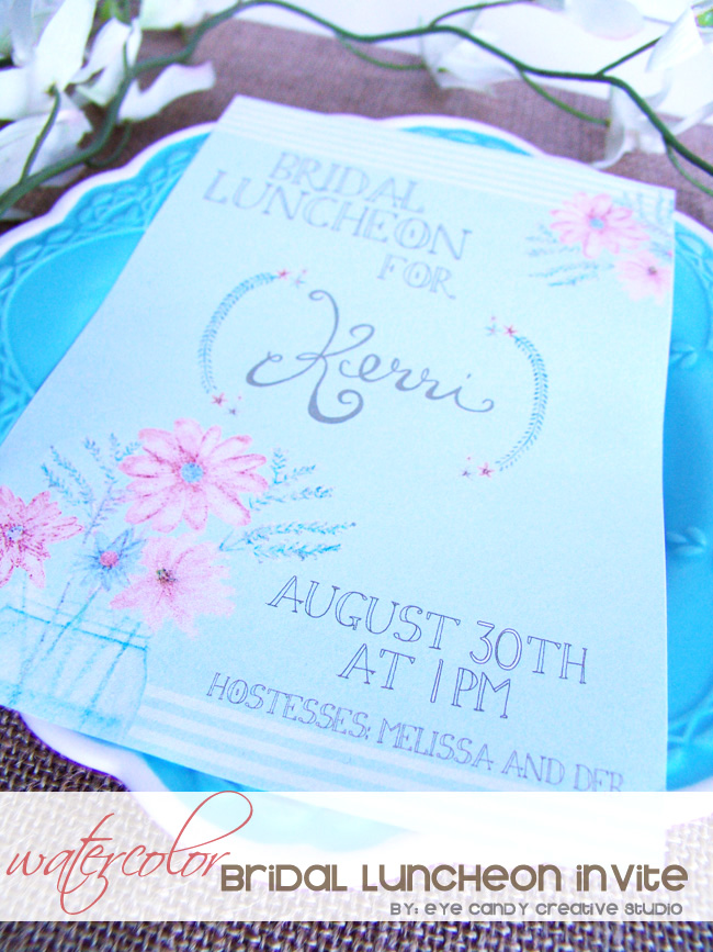 watercolor bridal invite, rustic shower, burlap, flowers, hand lettering