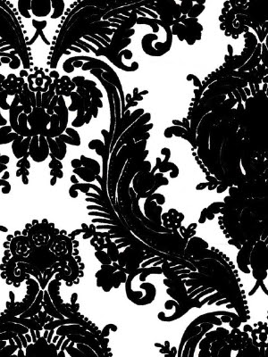 wallpaper white black. Black and White Mid Scale Damask Wallpaper