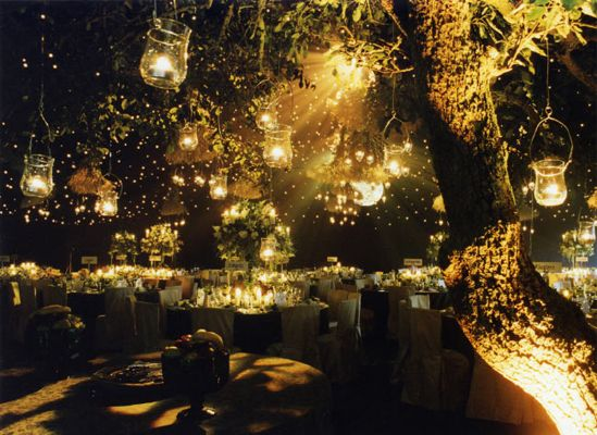How would you like you're *fantasy* wedding be?  :)  Forest+lights+theme+wedding