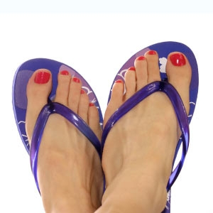 Something is. painted toenails and flip flops right!