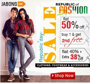 Clothing Footwear & Accessories Buy 1 Get 1 Free, 50% off, Extra 38% off – Jabong Republic Day Offers