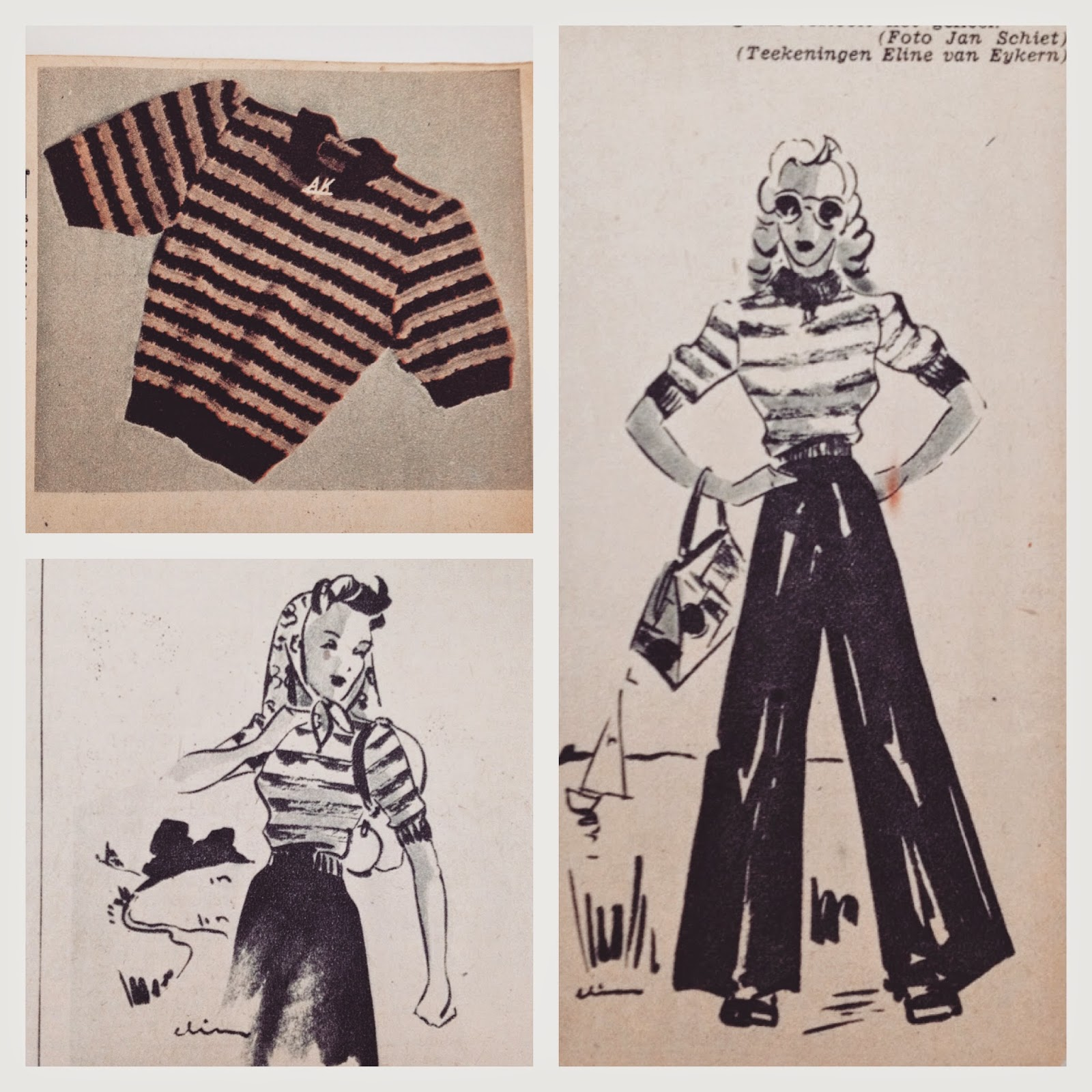 Free 1940s Striped Jumper Knitting Pattern
