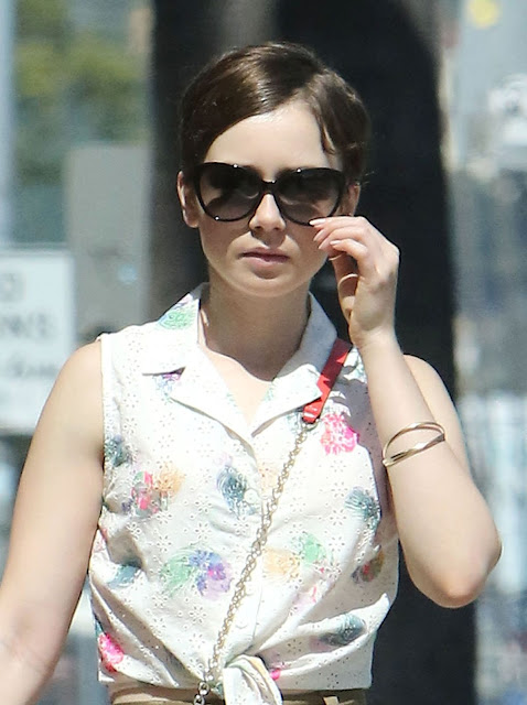 Actress, Model @ Lily Collins look angelic while walks on the street in West Hollywood