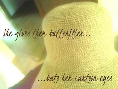 She gives them butterflies, bats her cartoon eyes