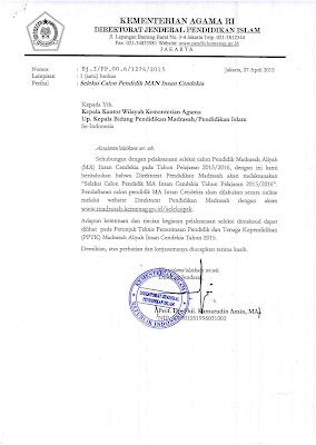 surat edaran resmi yang di keluarkan Kementerian agama RI direktorat jenderal pendidikan ISLAM , Nomor : Dj.1/PP.OO.6/1274/2015