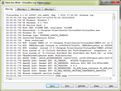 VirtualBox with Windows 8: VirtualBox Log Window