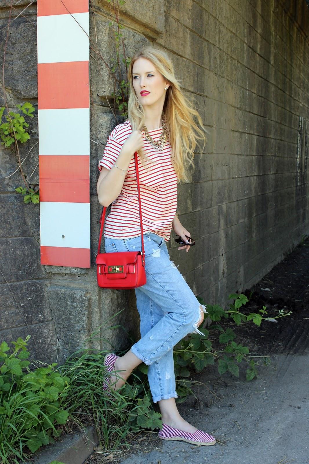 TheBlondeLion Outfit boyfriendjeans stripes Streifen