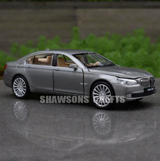 DIECAST METAL 1:32 MODEL CAR TOYS SOUND & LIGHT PULL BACK BMW 760LI REPLICA