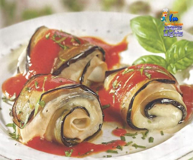 Rollitos de berenjena mozzarella y pavo