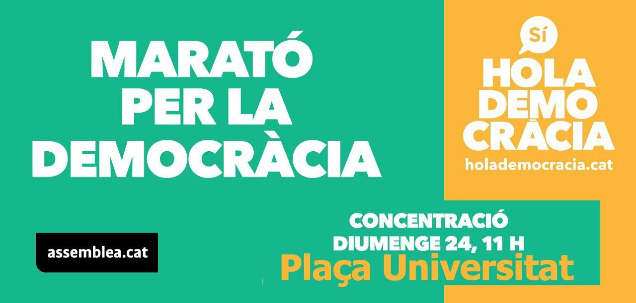 Marató per la democràcia a Plaça Universitat, diumenge 24 de setembre - #empaperem Barcelona!