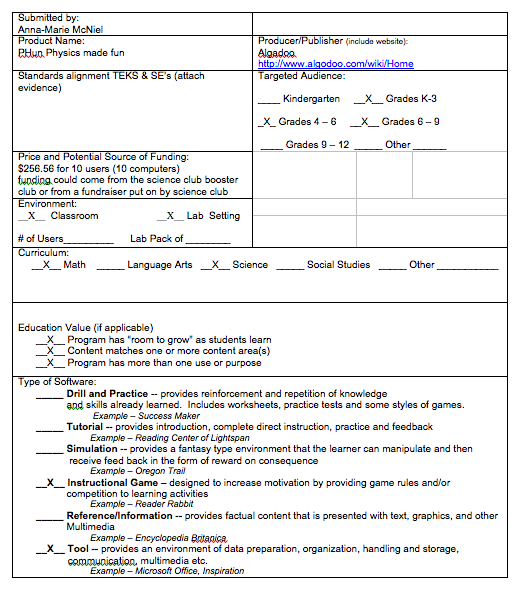 quirks and blurps Software Evaluation Form – Software Evaluation