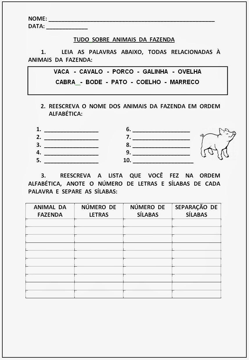 Atividades de Alfabetização para Imprimir - Tudo sobre animais da fazenda
