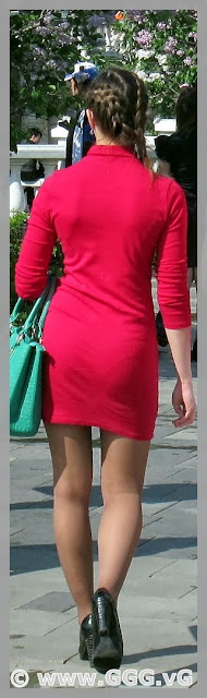 Girl's outfit with red summer dress on the street
