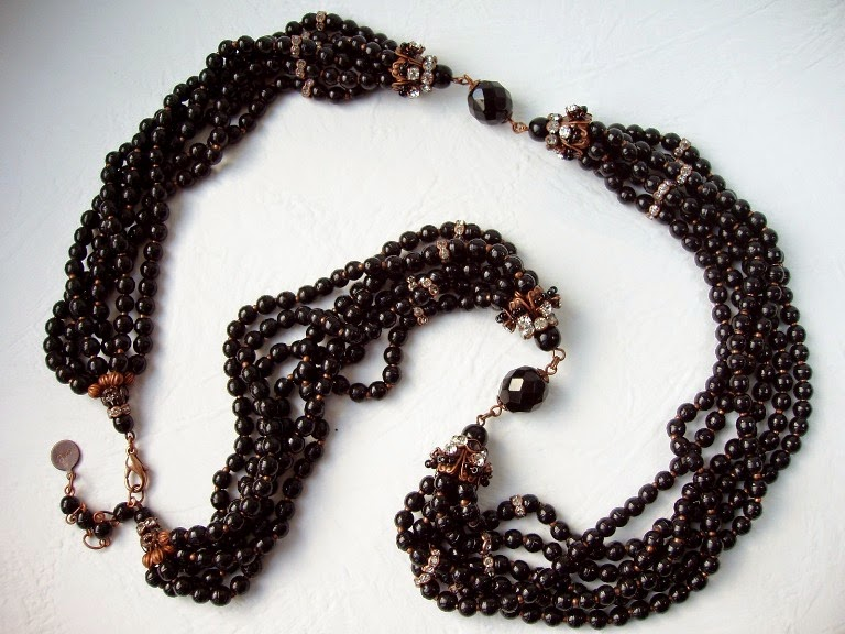 Prosser Trade beads French Assemblage Jewelry Statement Necklace Estonia