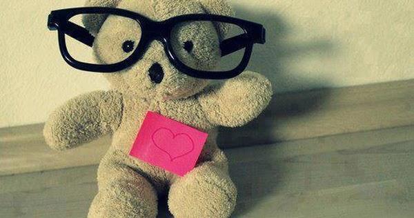 Cute, teddy, bear, glasses, heart