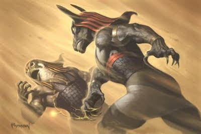 Hórus lutando contra seu tio Seth, para vingar a traição contra seu pai Osíris