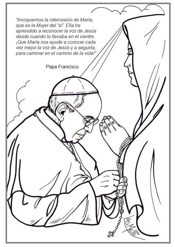 Aprendemos con el Papa Francisco: Colorea al Papa Francisco pidiendo ...