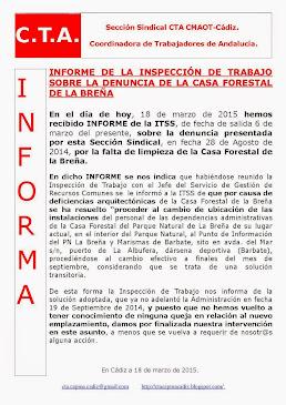 INFORME DE LA INSPECCIÓN DE TRABAJO SOBRE LA DENUNCIA DE LA CASA FORESTAL DE LA BREÑA
