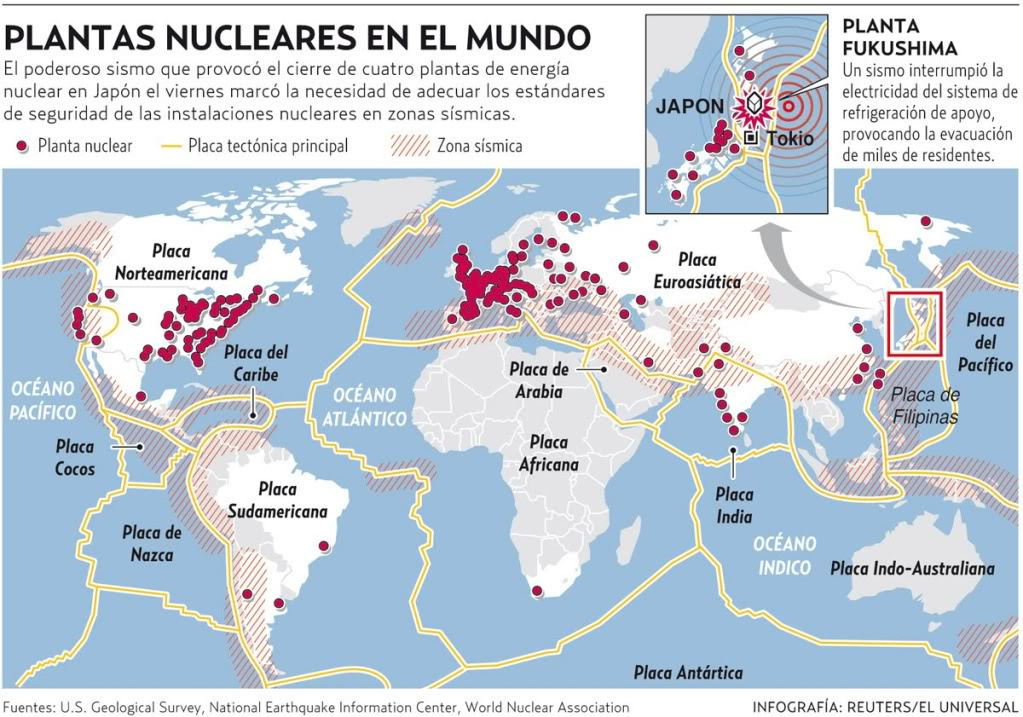 observando la cantidad de mapas de plantas nucleares en el mundo que