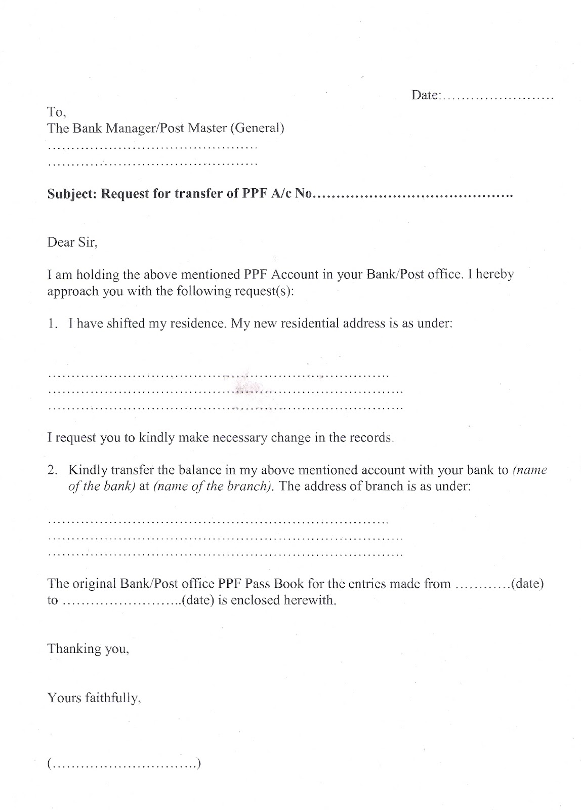 letter to bank for cheque book