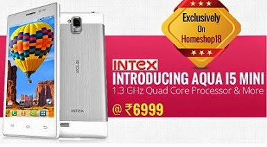 Exclusive on HomeShop18: Intex Aqua i5 Mini Dual SIM Android Mobile Phone – White worth Rs.7990 for Rs.6999 Only