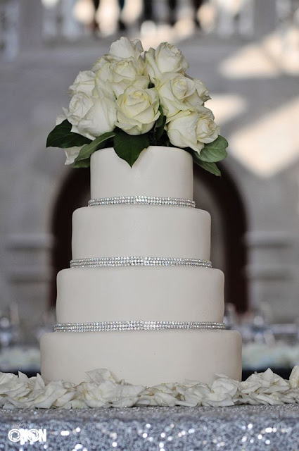 White roses and bling cake