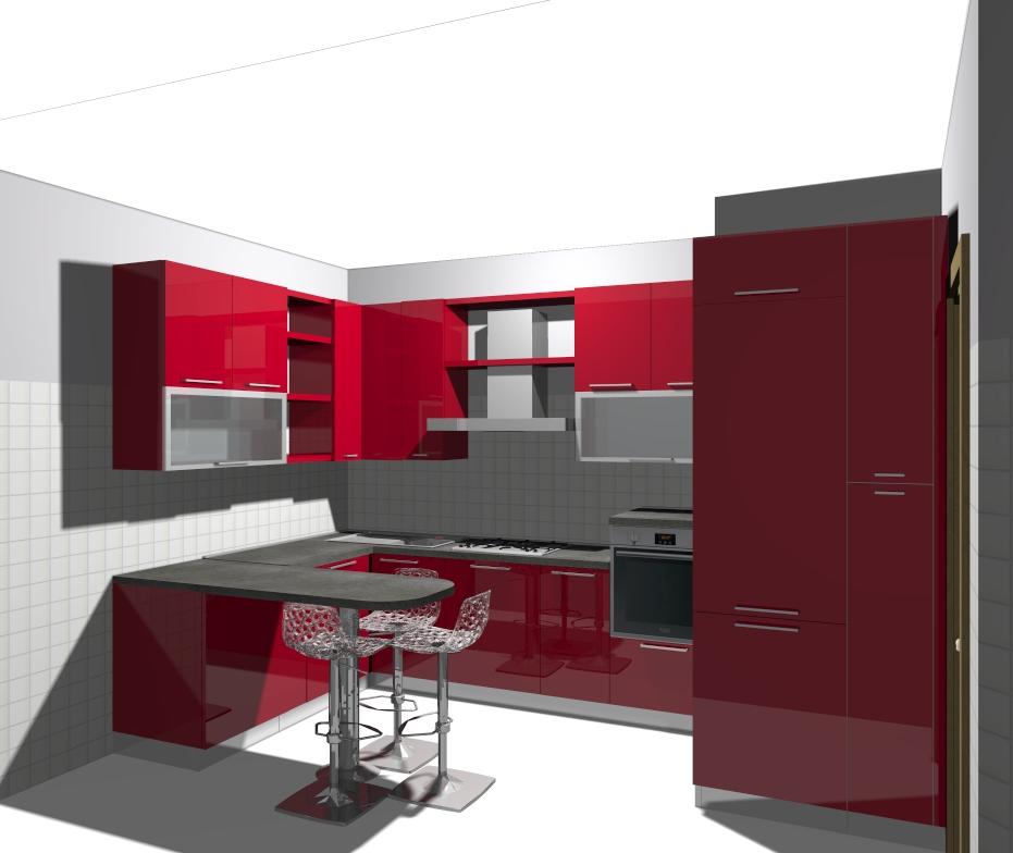 Domus arredi rossa la cucina oppure rosse le pareti for Cucine rosse