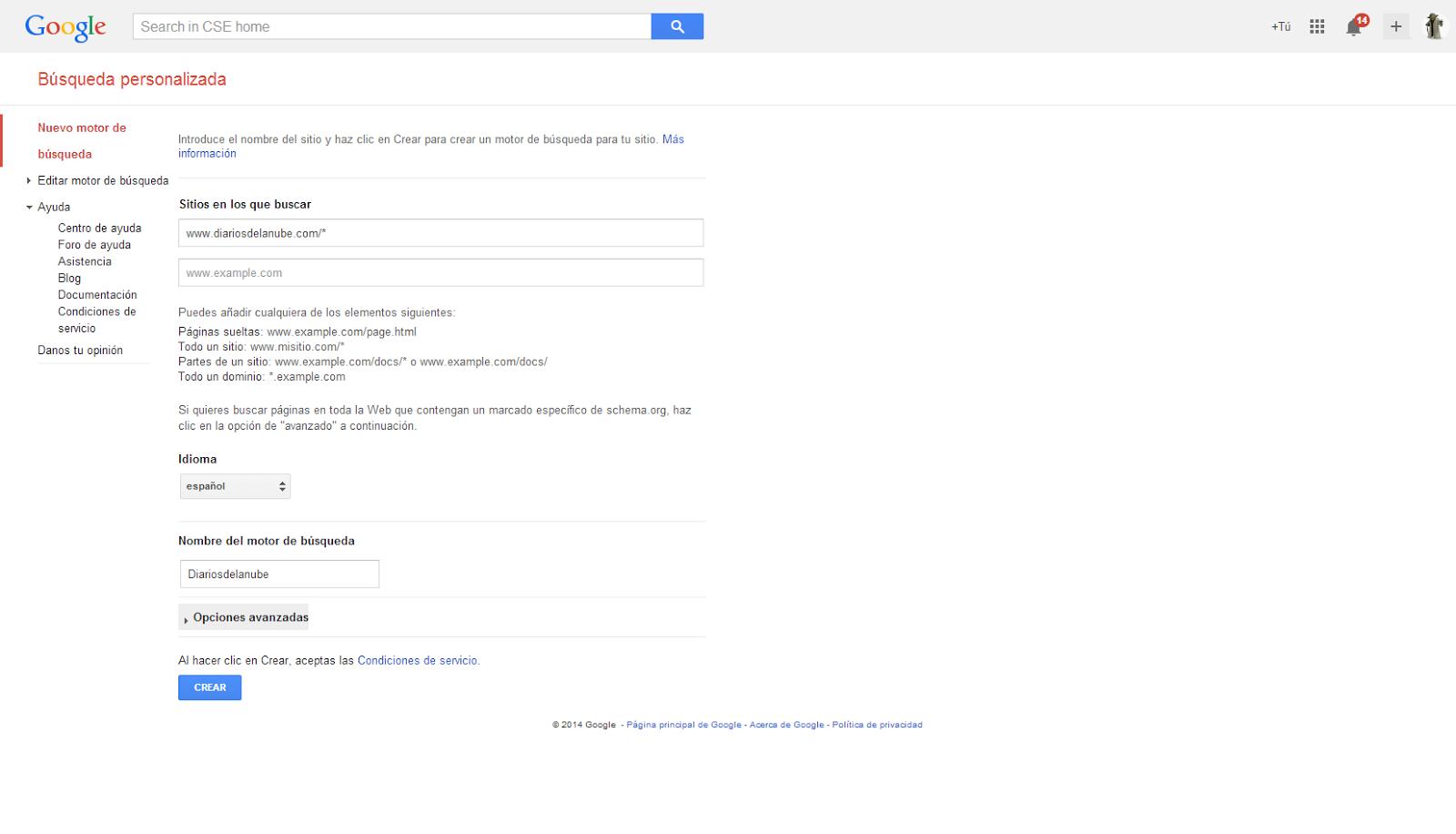 Creando un motor de búsqueda personalizada de Google
