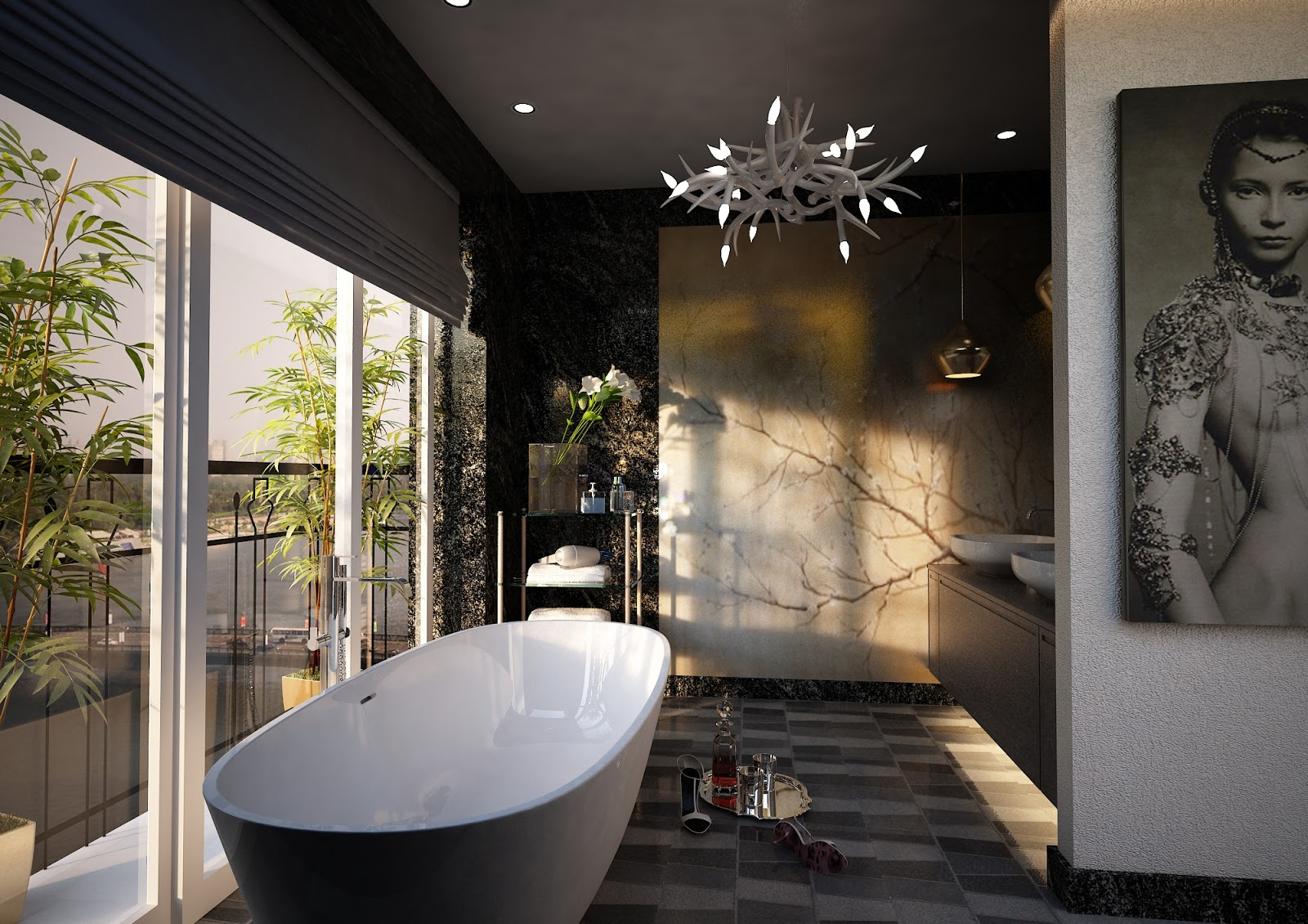 Interior design visual art Open master bathroom designs