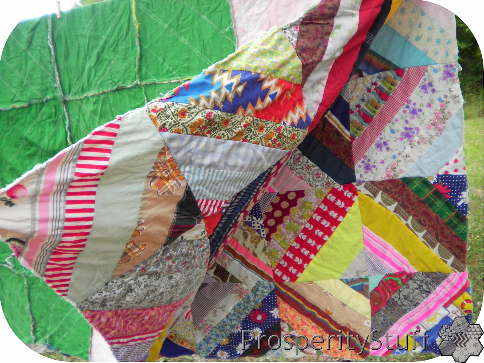 Vintage Quilt Top - foundation fabric piecing