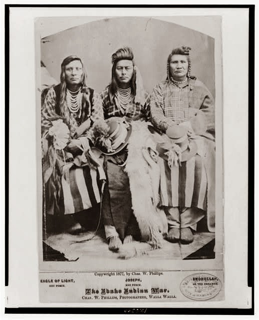 Photo likely depicts Billy Carter, Ollokut (Chief Joseph's younger brother) and Middle Bear.