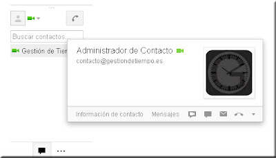 Ficha de Contacto. Google Talk. Mensajería directa de Google.