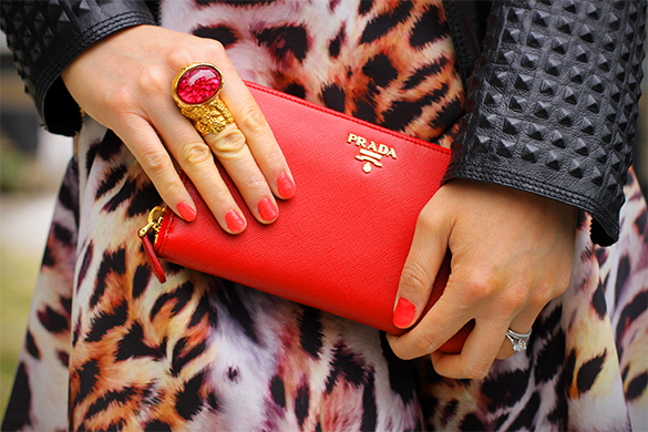 Red YSL Goldtone Arty Ring and  Prada Saffiano Metal Oro Wallet