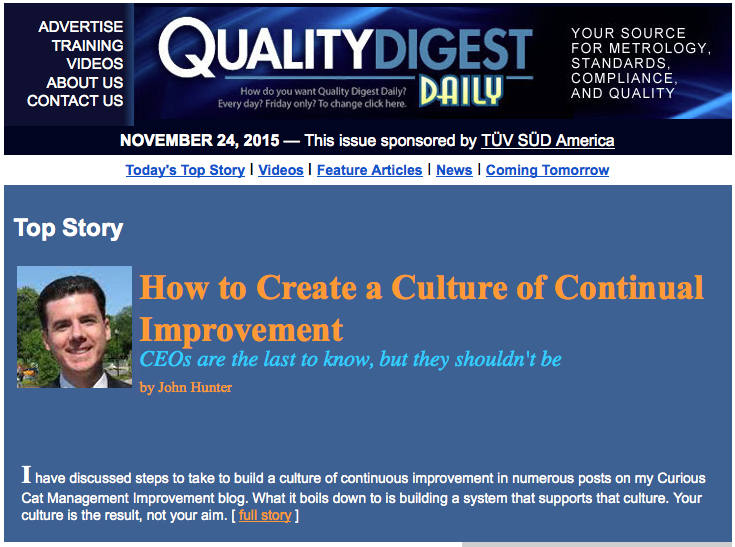 image of Quality Digest newsletter cover