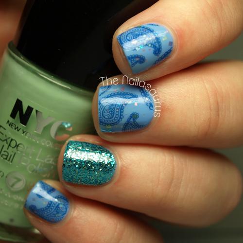Paisley Nail Art: Snippet: Blue Paisley Stamping - The Nailasaurus