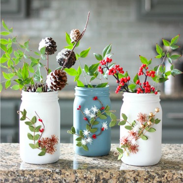 Pretty mason jar vases