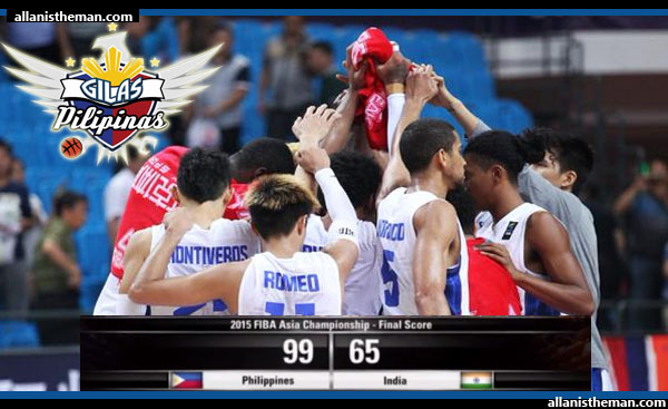Gilas Pilipinas beats India by 34 points; secures Group E top seed - FIBA Asia 2015 (VIDEO)