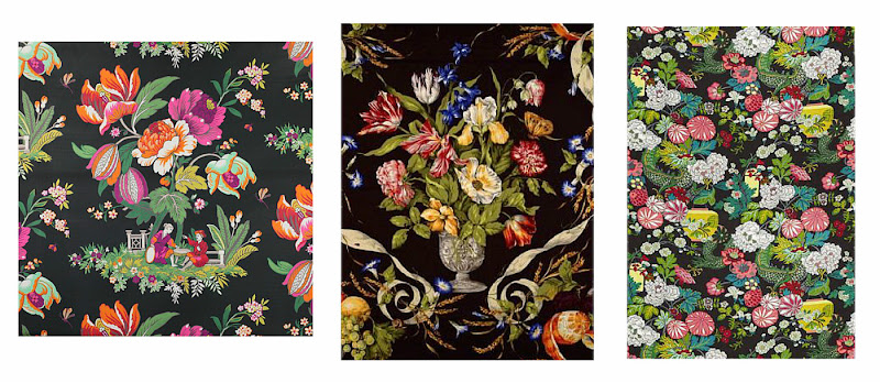 Floral Upholstery Fabric with Black Background