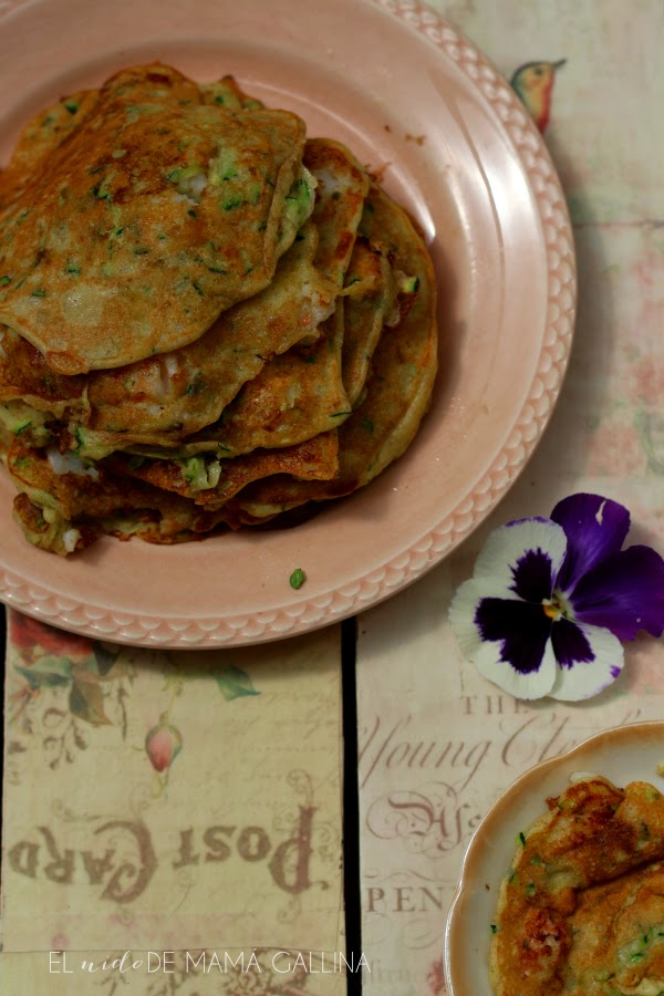 zucchini and prawns pancakes