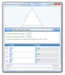 Solucionador de triângulos - regras de existência de triângulos